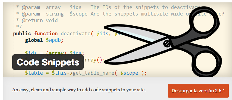 Plugin code snippets wordpress - dinapyme