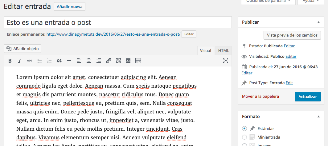 Convertir entradas en páginas y viceversa en WordPress | Dinapyme