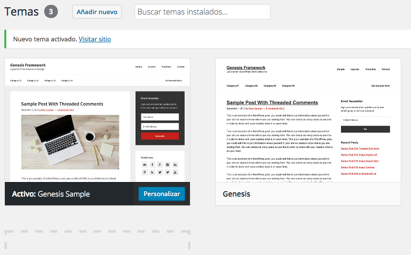 Instalar Genesis Framework 2.3 en WordPress | Dinapyme