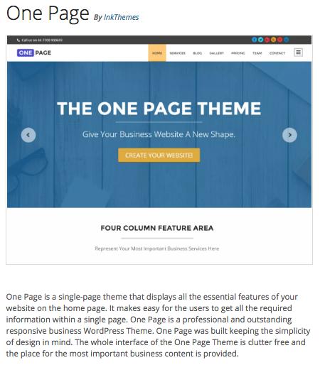Temas Gratuitos WordPress: One Page | Dinapyme