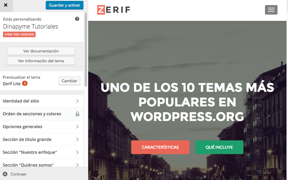 Temas Gratuitos WordPress: Zerif lite | Dinapyme