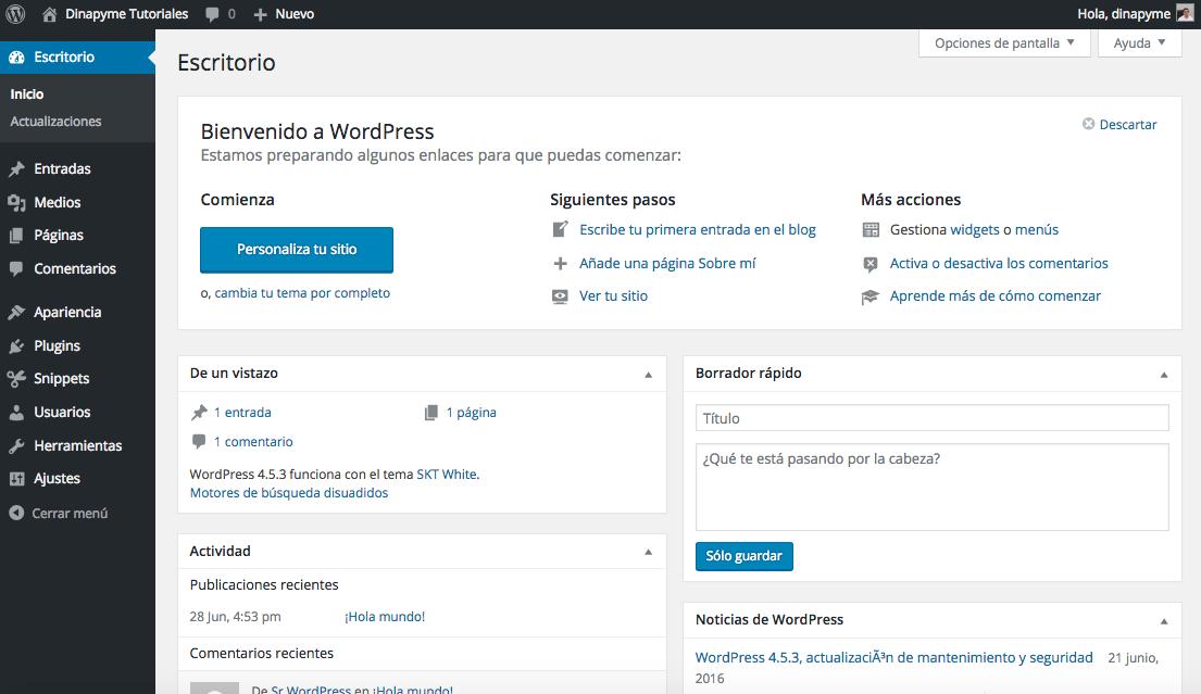 Temas WordPress para el panel de Administración: Blue Admin | Dinapyme