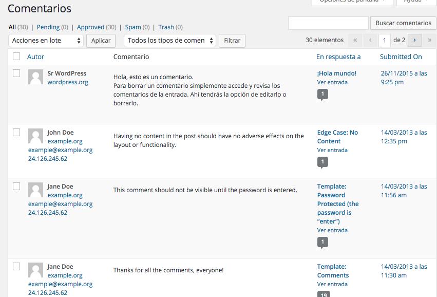 Instalar contenido de demostración en wordpress