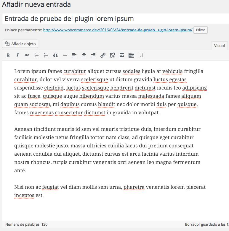 Generar texto de prueba en WordPress con un clic