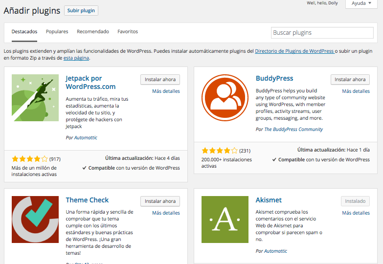 Instalar un plugin en WordPress
