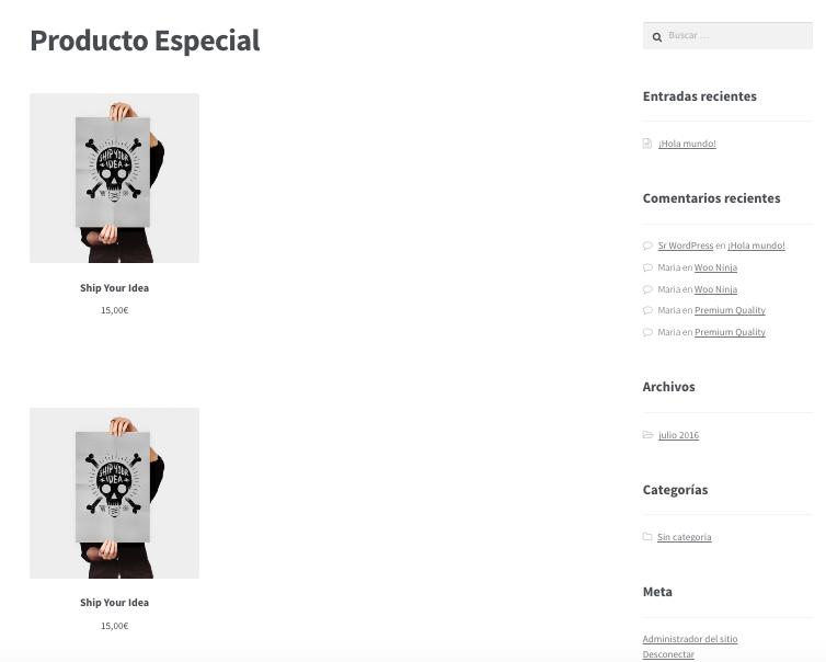 Mostrar uno o varios productos de WooCommerce en una página - dinapyme