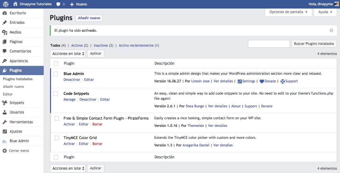 Temas WordPress para el panel de Administracion - Blue Admin - dinapyme