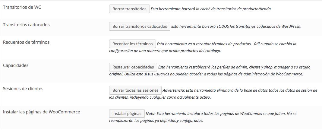Volver a crear las paginas predeterminadas de WooCommerce -dinapyme