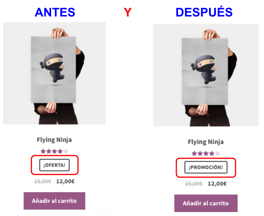 Woocommerce snippet- Cambiar texto Oferta en productos - dinapyme