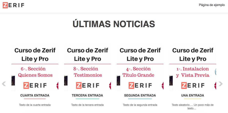 Curso de Zerif Lite y Pro - Seccion Ultimas Noticias